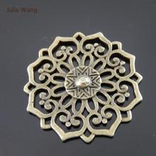 Julie Wang 3PCS 30mm Bohemia Charms Antique Bronze Hollow Round Flower Pendant Handmade Bracelet Jewelry Making Accessory