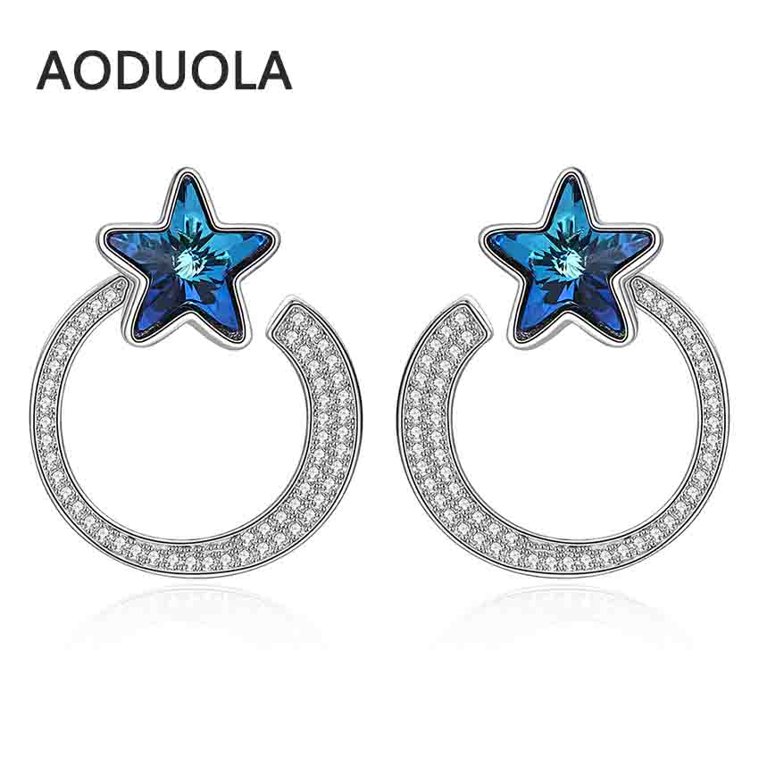 все цены на Fine 925 Sterling Silver Earring Silver Stud earring Star Moon Blue Crystal Earrings for Women Fashion Jewelry gift Accessories онлайн