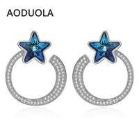 Fine 925 Sterling Silver Earring Silver Stud earring Star Moon Blue Crystal Earrings for Women Fashion Jewelry gift Accessories