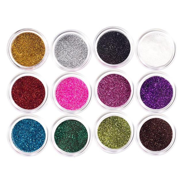 DIY Nail Art Glitter Powder Dust Decoration kit For Acrylic Tips UV Gel Manicure tools