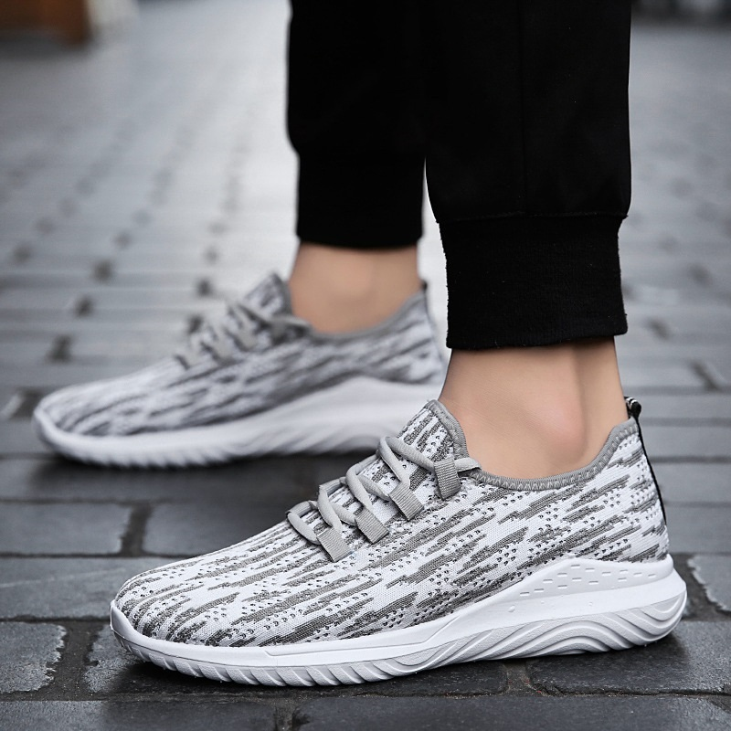New 2018 spring autumn fashion men's casual shoes, breathable flying mesh male snekers comfortable single flat shoes for man