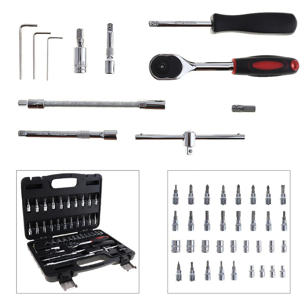 Automobile Motorcycle Car Repair Tool Box Precision Socket Wrench Set Ratchet Torque Wrench Combo Tools Kit for Auto Repairing professional hardware car repair tool 46pcs box socket set ratchet torque wrench combo tools kit auto repairing accessories