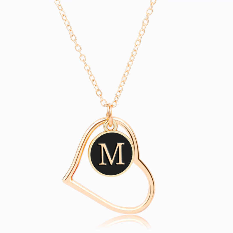 New 26 Alphabet Letter Necklace For Women Gold Color Chain Initial Heart Pendant Necklace Female Jewelry