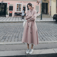 2019 Brand New Women Coat Blends Wool Long Female Coats Autumn Winter Lady Outerwear Pink Gray Clothes Fashion Overcoats