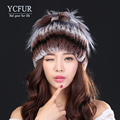 YCFUR New Arrival Natural Fur Hats Winter 2016 Stripes Natural Rex Rabbit Fur Caps For Women Warm Winter Fur Beanies Female