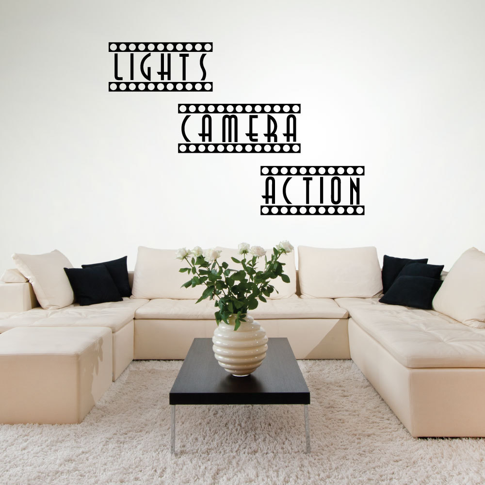 Home Theater Decor Pictures: Lights Camera Action Wall Sticker Home Theater Movie Room