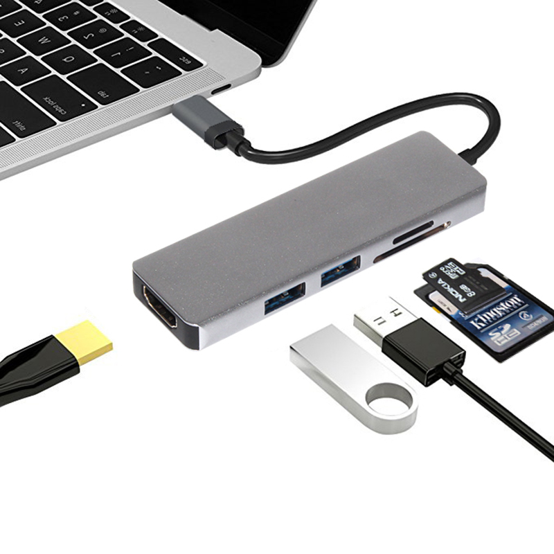 USB C 3.1 Type C Male to HDMI Female USB Converter SD/TF Card Reader Type C Charging Port 2 USB 3.0 HUB Adapter for MacBook Pro