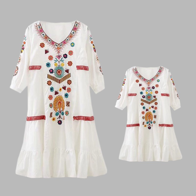 2018 High-end Custom Mother Daughter Elegant Dress Party Wedding Beohemian Style Boho Choses Embroidery Fringed V Collar Clothes цена