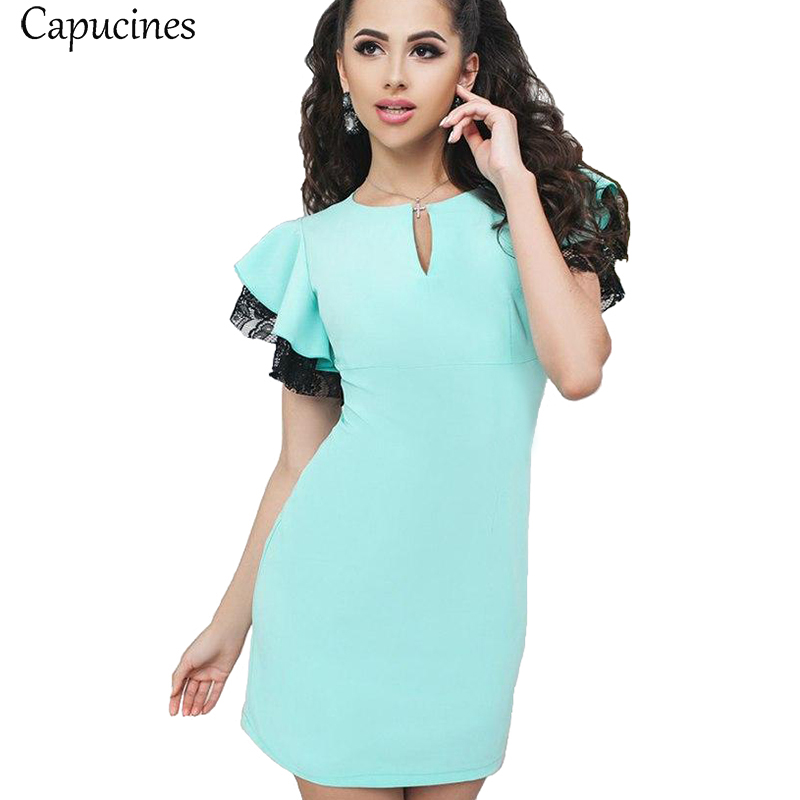 Capucines Sky Blue Butterfly Sleeve Lace Patchwork Summer Dress Women 2018 Fashion Short Sleeve Slim Party Club Mini Dresses