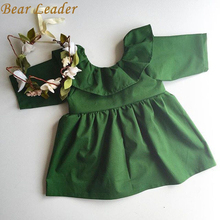 Bear Leader 2016 Spring&Autumn children's clothes fashion girl vestido tutu dress girls wood ear Europe green party dress 1-4Y