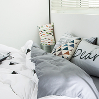 Brief Stripes Duvet Cover Set Grey Solid Color Bed Sheet Pillow Case Twin Queen King Size For Adults 100% Cotton Bedding RUIYEE