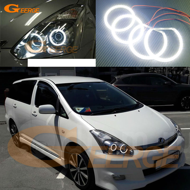 For TOYOTA WISH 2005 2006 2007 2008 2009 Excellent led angel eyes Ultra bright illumination smd led Angel Eyes Halo Ring kit