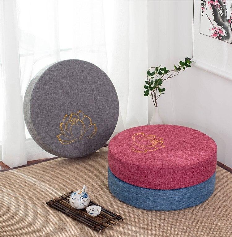 HTB1wqXJe21H3KVjSZFBq6zSMXXaK Japanese-style futon worship Buddha sitting cushion fabric washable round linen balcony window tatami mat meditation lotus