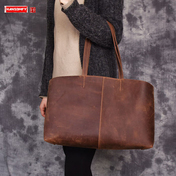 Retro first layer leather Women handbags female shoulder bag crazy horse leather large capacity tote bag ladies shopping bags