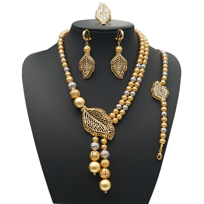 цена на YULAILI Costume Jewelery Sets for Women Pure Gold Color Necklace Bracelet Earrings Ring Accessories