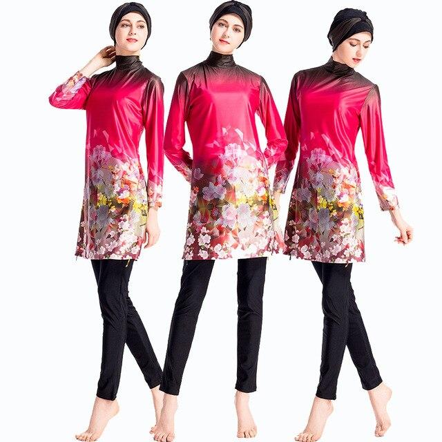 8313f9834dd China Red Islamic Swimsuit 2018 New Beach Bathing Suit Women Full Coverage Modest  Muslim Swimwear Arab Beach Wear Muslim hijab