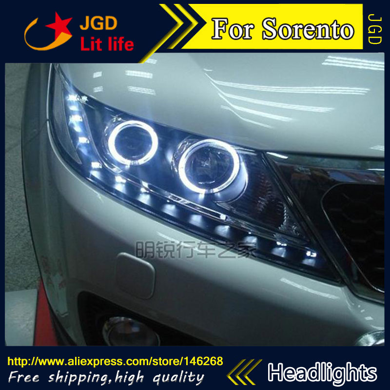 Free shipping ! Car styling LED HID Rio LED headlights Head Lamp case for KIA Sorento 2009-2012 Bi-Xenon Lens low beam akd car styling for kia k2 rio headlights 2011 2014 korea design k2 led headlight led drl bi xenon lens high low beam parking