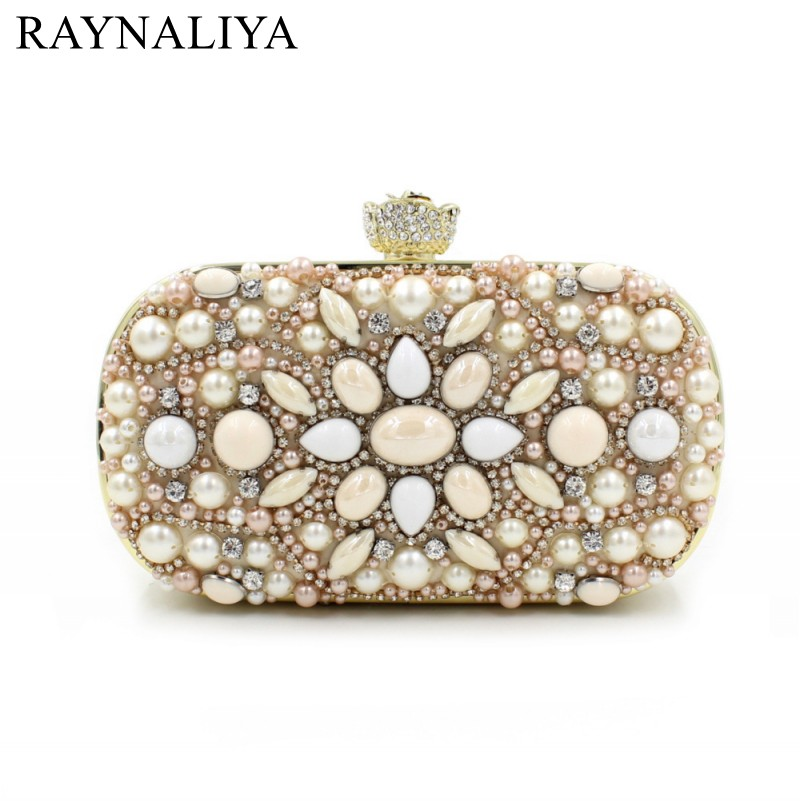 Fashion Handmade Crystal Chian Beading Evening Clutch Bags Woman Handbag For Wedding Dinner Party Rhinestone Purse SMYZH-E0187 2016 handmade crystal chian bead black evening clutch bags purse prom wedding women dinner bag beg bolsa feminina aj sac a main