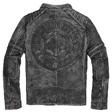 2017 New Vintage Black Men' s Leather Biker Jacket Slim Short Fit XXXL Genuine Cowskin Male Winter Motorcycle Coat FREE SHIPPING