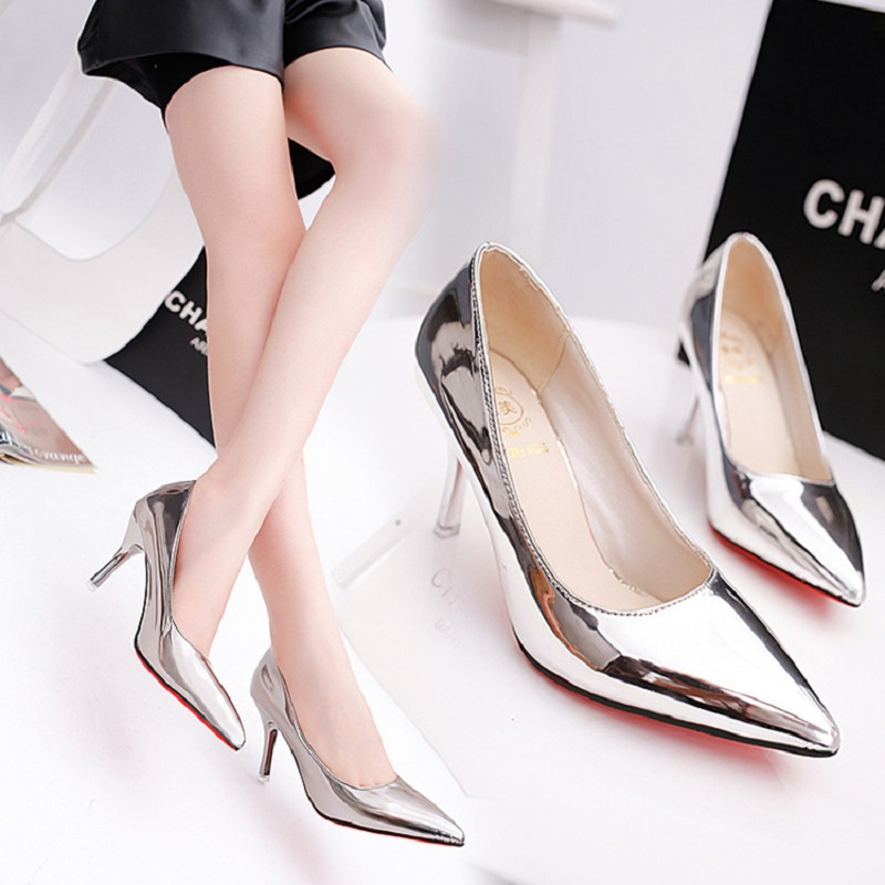2017 spring and autumn new high heels fine with shallow mouth mirror pointed shoes solemn sexy fashion female shoes 14cm sexy fine with nightclub shiny diamond high heels spring and autumn shallow mouth princess wedding shoes