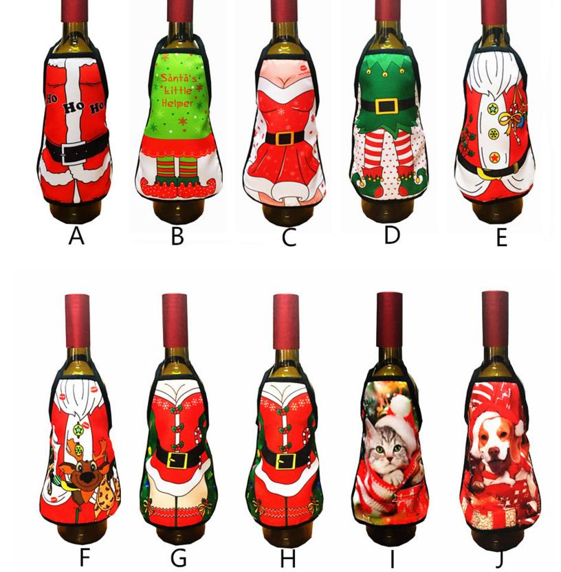 Mini Wine Bottle Apron Cover Birthday Wedding Anniversary Christmas Funny Gift Idea For Dinner BBQ Festive Holiday bar Decor