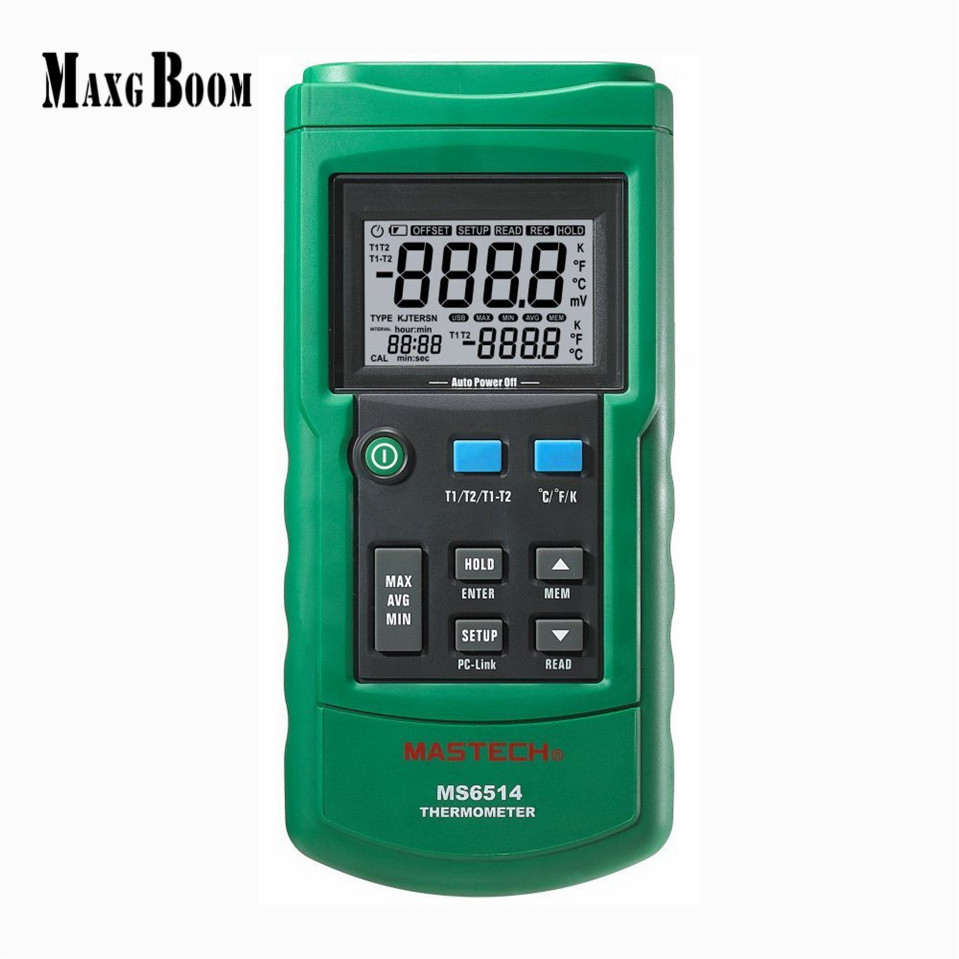 MASTECH MS6514 Dual Channel Digital Thermometer Temperature Logger Tester USB Interface 1000 Sets Data KJTERSN Thermocouple ms6514 dual channel digital thermometer temperature logger tester usb interface 1000 sets data kjtersn thermocouple with box