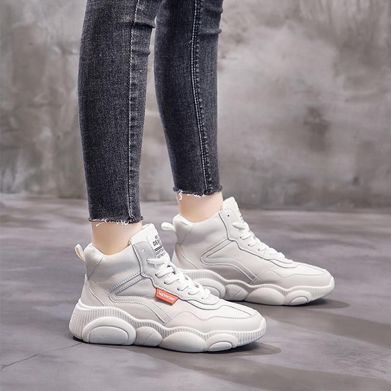 Velours Hiver Les Zapatos Aider Marée Plat White Pur Femmes De Casual Haute Fond En Espadrilles Cuir Chaussures Femme Mujer Plus Pour FFrOw