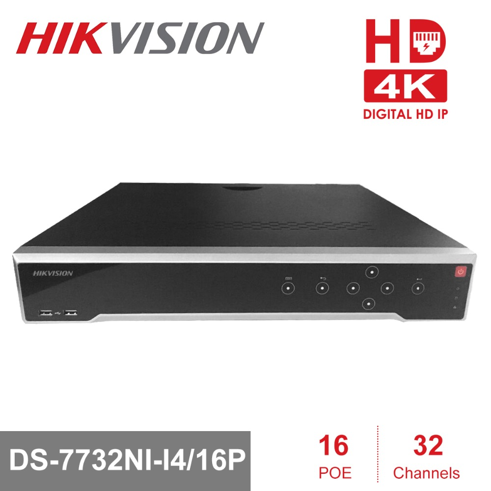 Hikvision 32 Channel POE NVR DS-7732NI-I4/16P with 16 PoE Ports Support Two-Way Talk Network Video Recorder Up to 12MP Record 16ch poe nvr 16 32ch ip camera 4k technology support 12mp ipc p2p network video recorder ds 7716ni i4 16p ds 7732ni i4 16p