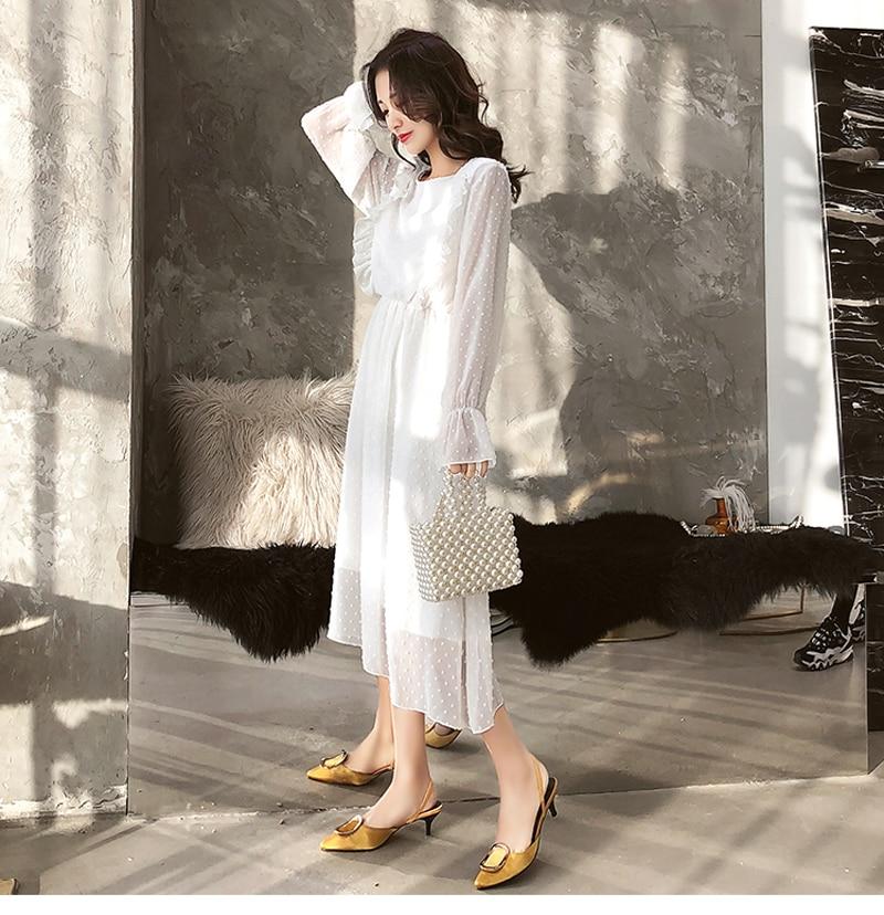 BGTEEVER Ruffles Polka Dot Women Chiffon Dress Elastic Waist Flare Sleeve Female Long Vestidos A-line White Dress 19 14