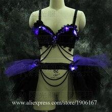 С подсветкой Sexy Lady Вечеринка платье Для женщин сцена костюмы свет ночной клуб бар Хэллоуин Рождественская одежда