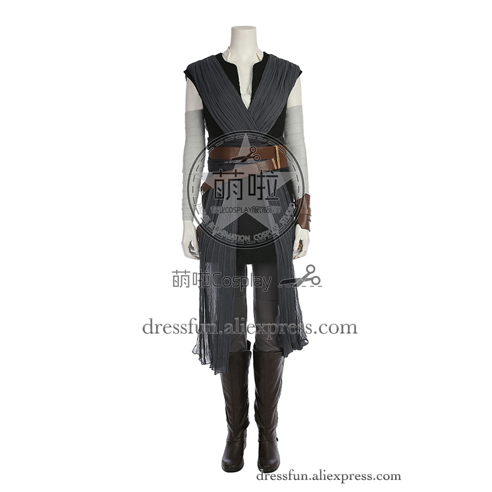 Star Wars The Force Awakens Cosplay Rey Costume Lady Halloween Party Outfit New Cool Halloween Dress Fast Shipping
