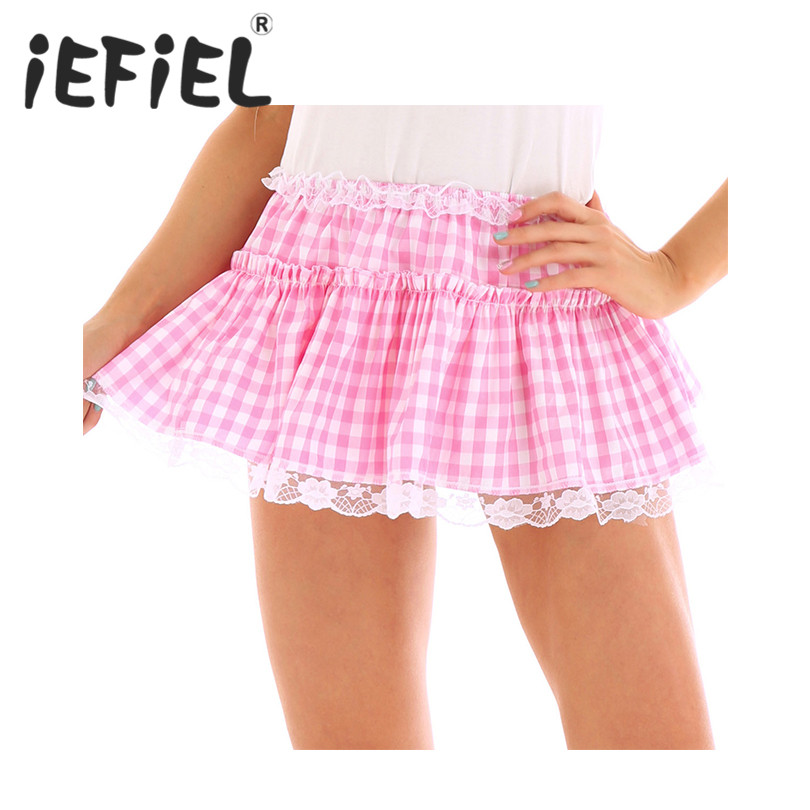Female Women Skirt Unisex Men Women Elastic Waistband Short Skirt With Lace Hem Pleated Gingham A-line Mini Skirt For Daily Wear