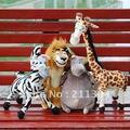 Бесплатная Доставка Мада Плюшевые Игрушки Одна Часть Розничной Торговли, небольшой размер 4 типов для выбирают Львы Жираф, Зебра, Бегемот газ дети подарки