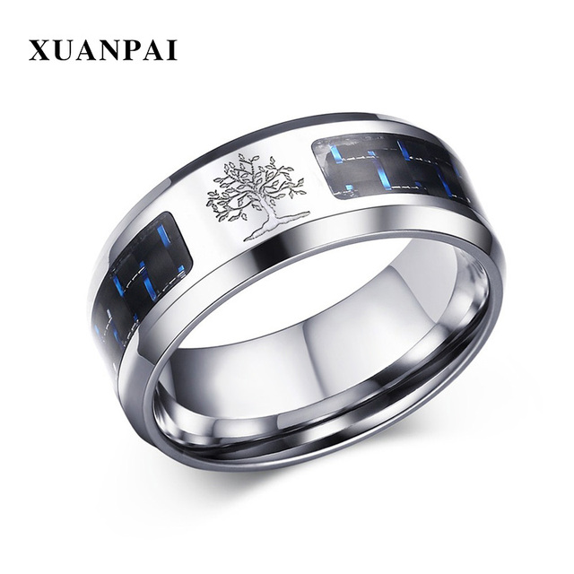 XUANPAI Vintage Tree of Life Mens Ring with Blue Carbon Fiber 8MM Stainless Steel Anel Masculino Jewelry
