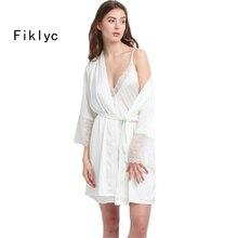 Fiklyc แบรนด์ผู้หญิง robe & gown ชุดฤดูร้อนครึ่งแขนเสื้อคลุมอาบน้ำ + mini ชุดนอน 2 ชิ้นชุดนอนชุดเทียมผ้าไหม