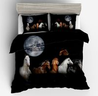 Lai Yin Sun Drop shipping Duvet cover sets Pillow cases Cartoon Wild Horses under Stunning Full Moon 3d bed set