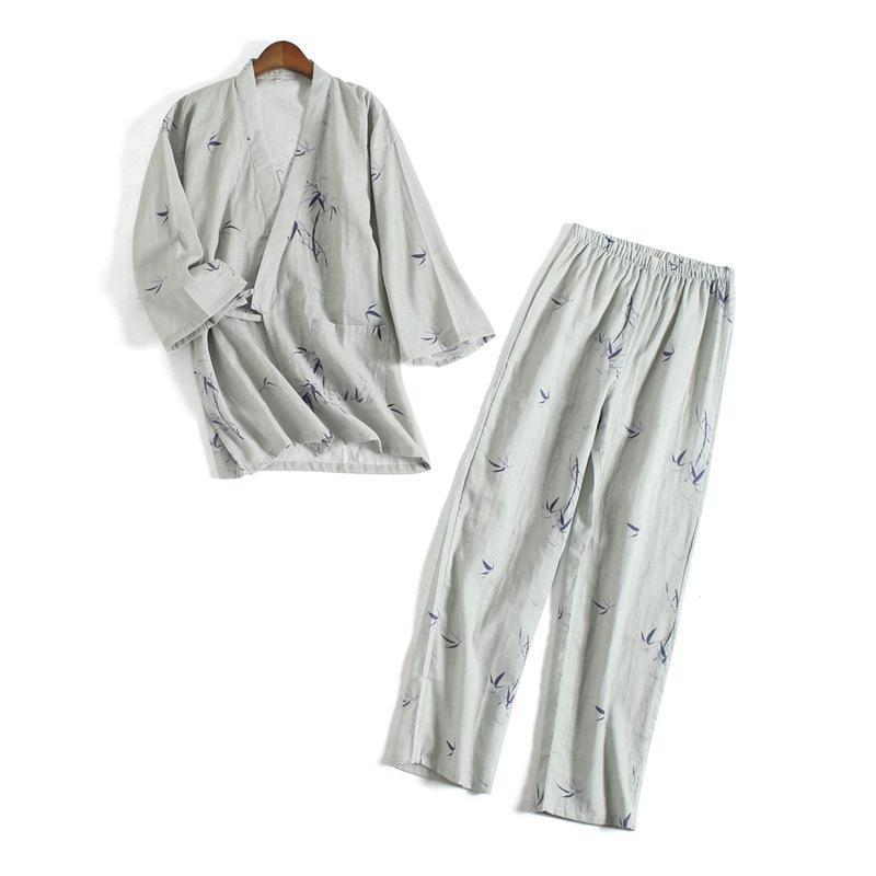 Spring New Printed   Pajamas     Set   For Lovers Cotton Long 2PCS Shirt&Pants Home Wear Casual Sleepwear Suit Loose Nightwear M L