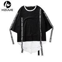 HZIJUE 2017 Summer Men Short Sleeve Extended Hip Hop T Shirt Oversized Swag Clothes Men S