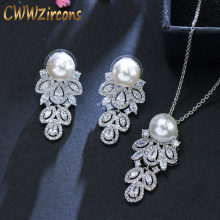 CWWZircons 2018 Fashion Brand Long Dangle CZ Crystal 925 Sterling Silver Pearl Necklace Earrings Jewelry Sets For Women T164(China)