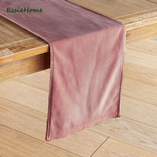 ESSIE HOME Rose Pink Dusty Grey Double Side Matte Velvet High End Table Runner Cloth Placemat