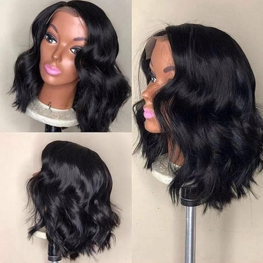 Short Lace Front Human Hair Wigs Brazilian Remy Hair Natural Wave Bob Wig With Pre Plucked Hairline Lace Wig For Black Women