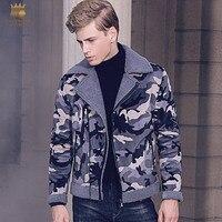 Fanzhuan Free Shipping New fashion male Winter Men's black Winter fur coat 2017 camouflage lapel zipper slim jacket 710169