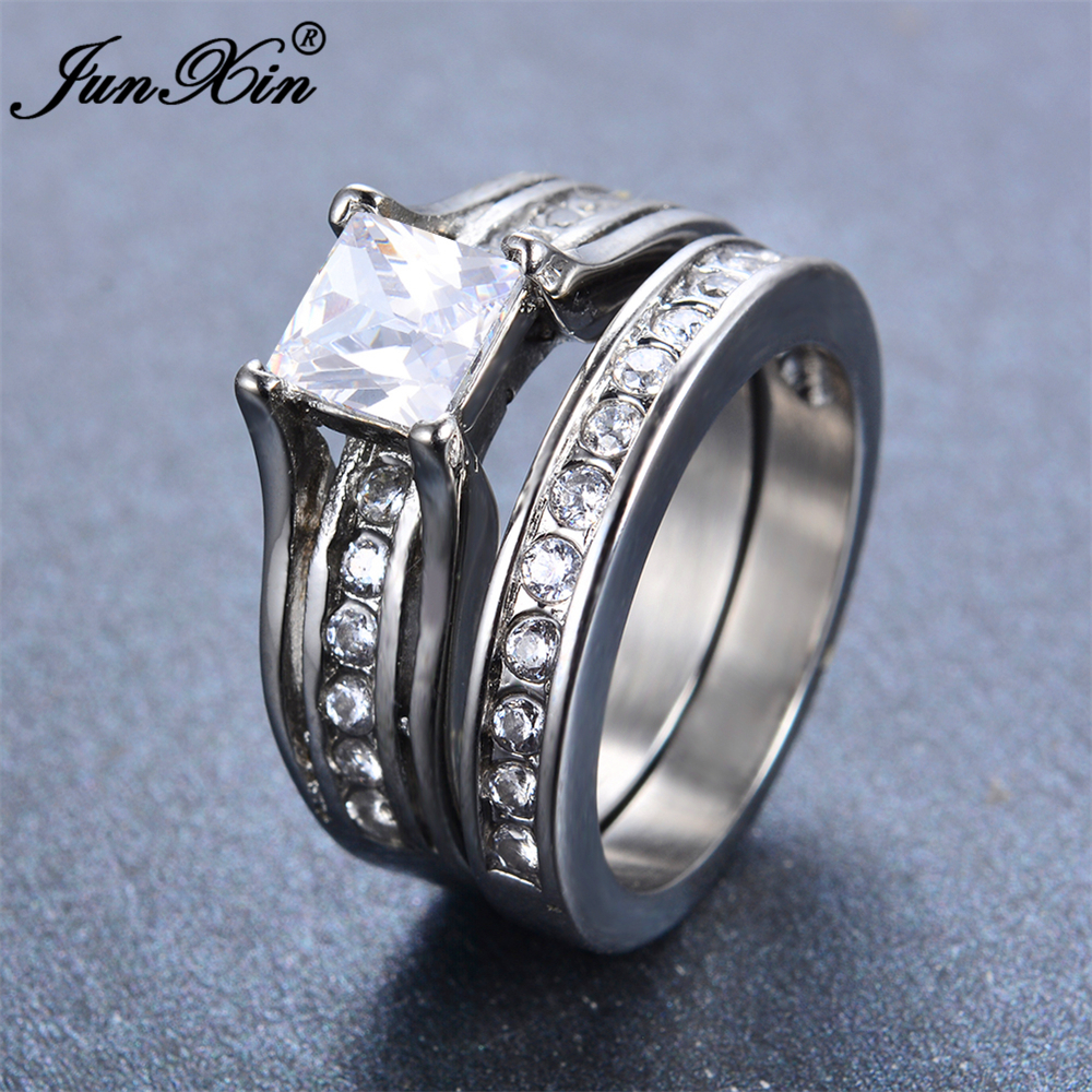 JUNXIN New Crystal White Geometric Ring Set Fashion
