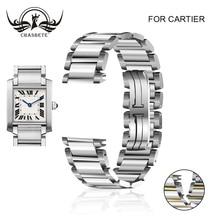 Ремешок из нержавеющей стали для часов Cartier-TANK серии 15 мм 20 мм ремешок с застежкой-бабочкой петля браслет на запястье скрытая застежка серебро