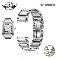 Stainless Steel Watch Band For Cartier TANK series 15mm 20mm Butterfly Clasp Strap Loop Wrist Belt Bracelet Hidden Clasp Silver