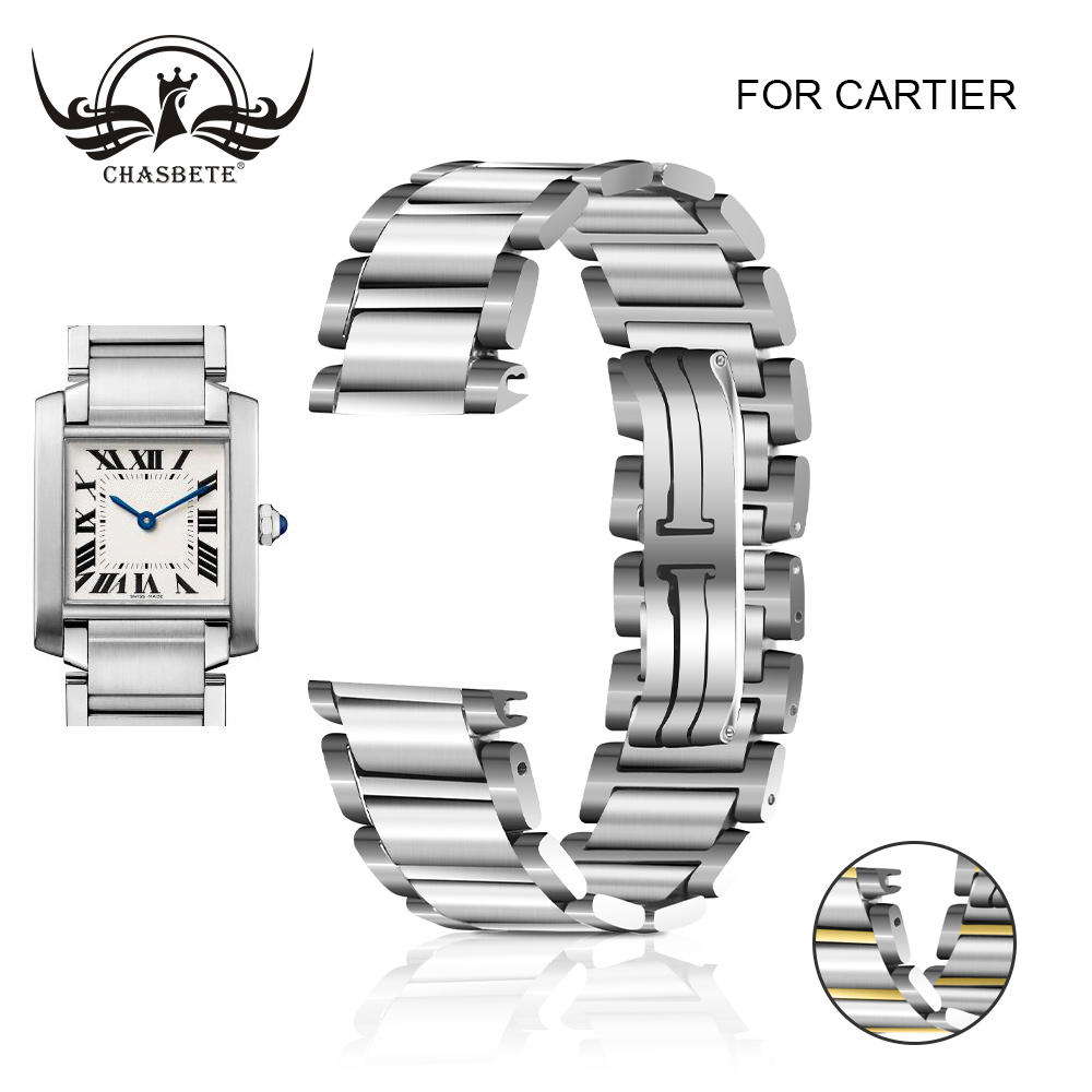 Stainless Steel Watch Band For Cartier TANK series 15mm 20mm Butterfly Clasp Strap Loop Wrist Belt Bracelet Hidden Clasp Silver