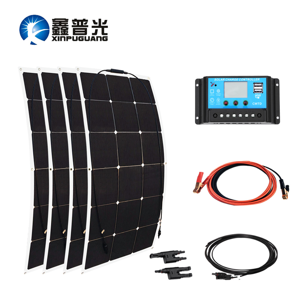 360w 18v Solar System 90w*4 Flexible Solar Panel PV Module Mono Cell + 30A Controller Cable MC4 Connector 12v Battery Charger