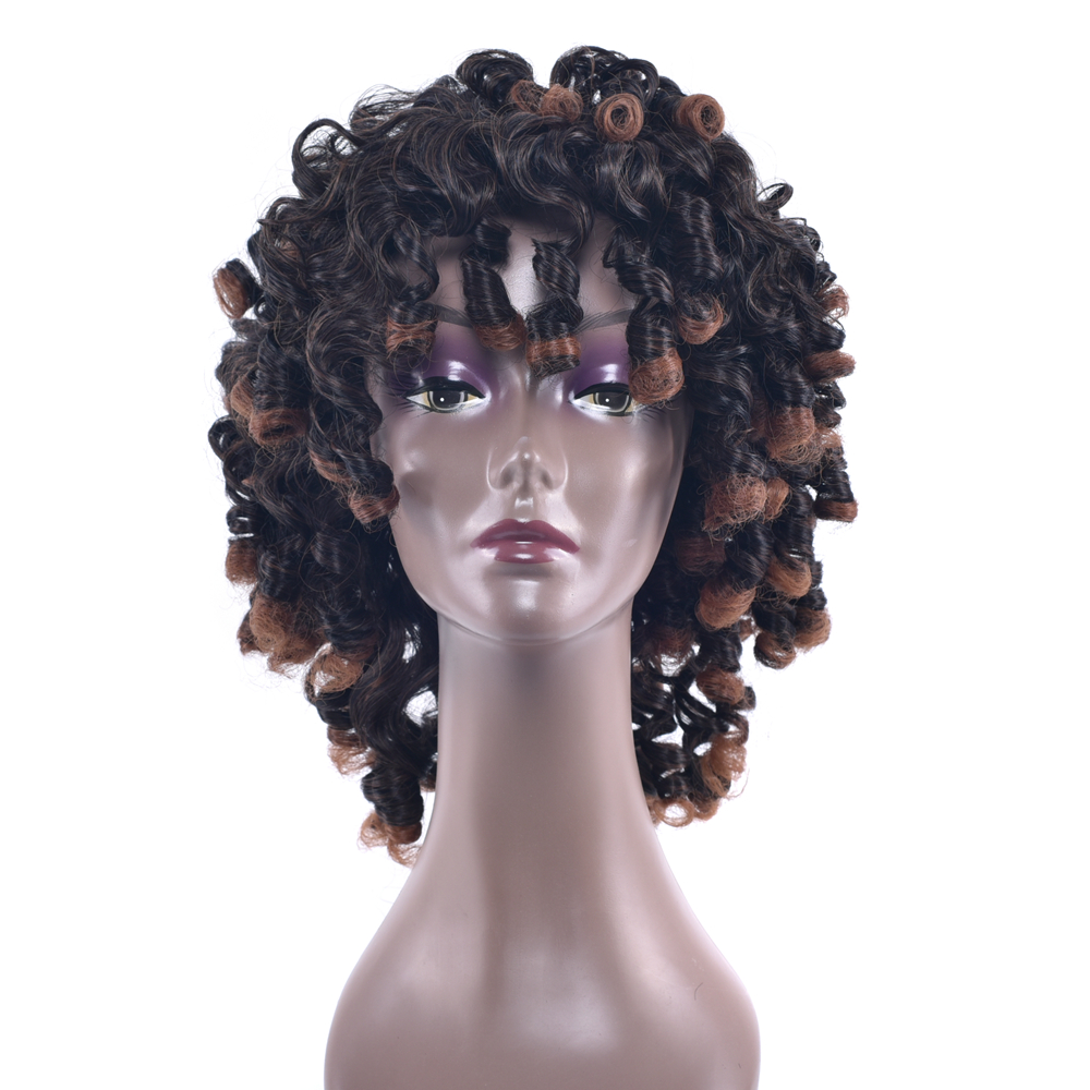 Soowee 4 Colors Synthetic Hair High Temperature Fiber Short Brown Cosplay Wigs Afro Curl ...