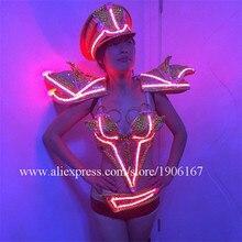 С подсветкой осветить растет пикантные Костюмы Панцири вечернее платье со светодиодной подсветкой секс костюм Новинка Одежда для танцев костюм