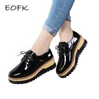 EOFK Women Flat Platform Shoes Women's Patent Leather Shoes Woman Autumn New Lace Up Women's Casual Flats Ladies Lacquered Shoes
